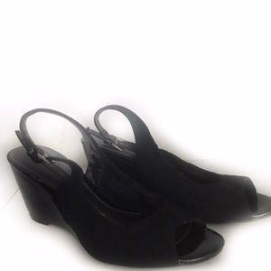 Bandolino Black Open Toe Wedge Sandals